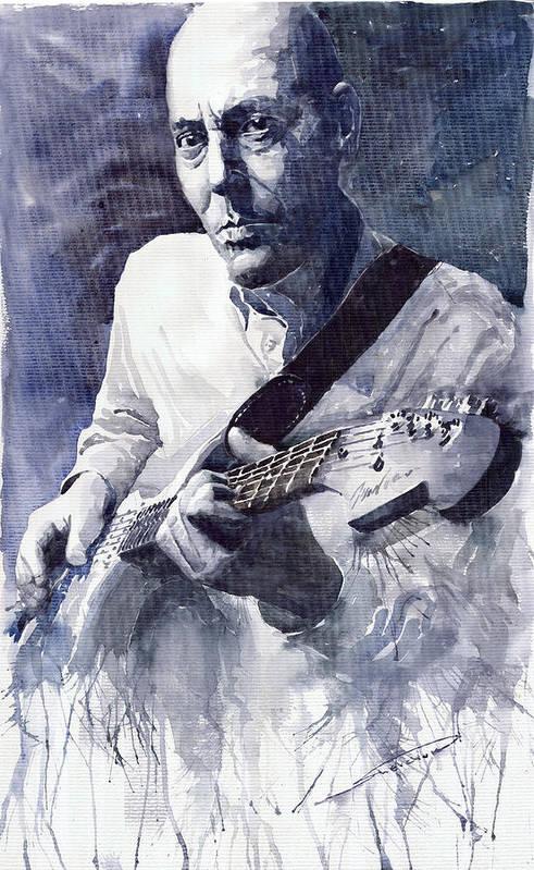 Blues Poster featuring the painting Jazz Guitarist Rene Trossman by Yuriy Shevchuk