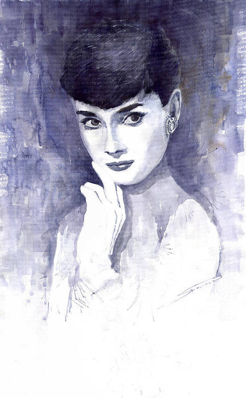 Watercolour Poster featuring the painting Audrey Hepburn by Yuriy Shevchuk