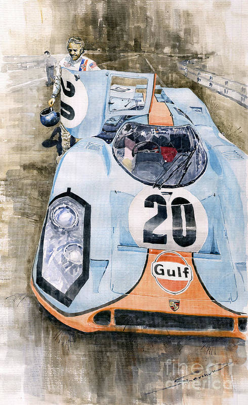Watercolor Poster featuring the painting Steve Mcqueens Porsche 917k Le Mans by Yuriy Shevchuk