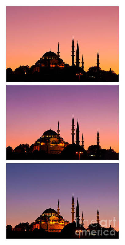Istanbul Poster featuring the photograph Suleymaniye Sundown Triptych 03 by Rick Piper Photography