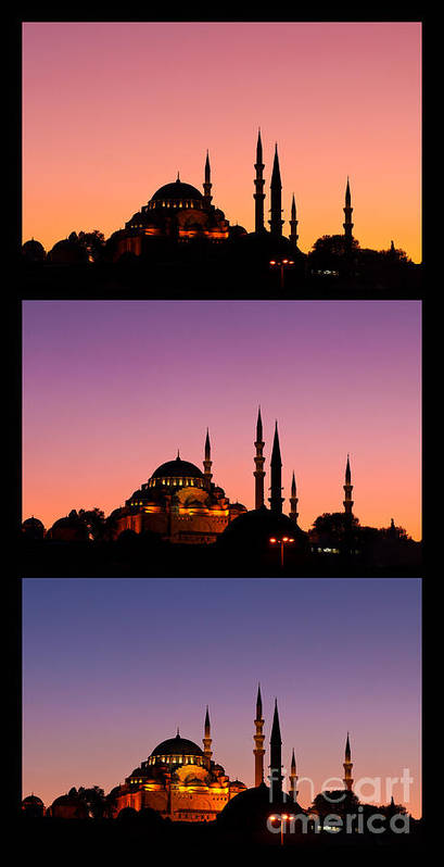 Istanbul Poster featuring the photograph Suleymaniye Sundown Triptych 04 by Rick Piper Photography