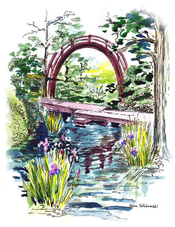 Bridge Poster featuring the painting Japanese Tea Garden San Francisco by Irina Sztukowski