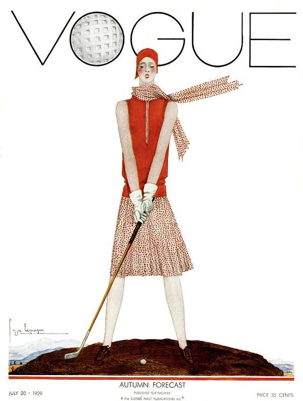 Illustration Poster featuring the photograph A Vintage Vogue Magazine Cover Of A Woman by Georges Lepape