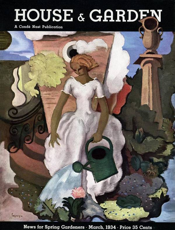 Illustration Poster featuring the photograph A House And Garden Cover Of A Woman Watering by Georges Lepape