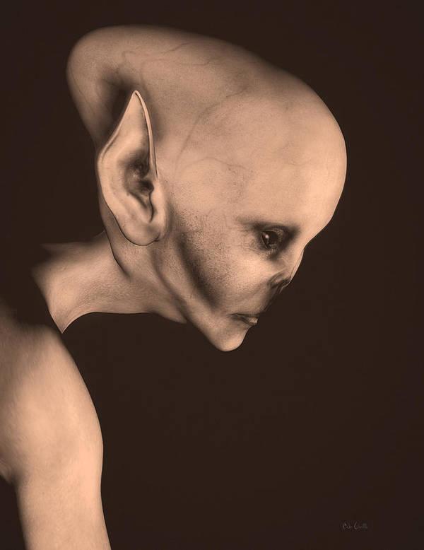 Alien Abduction Poster featuring the digital art Alien Portrait by Bob Orsillo