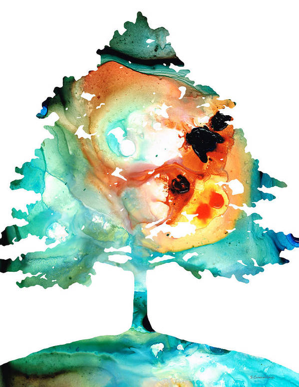 Sharon Cummings Poster featuring the painting All Seasons Tree 1 - Colorful Landscape Print by Sharon Cummings