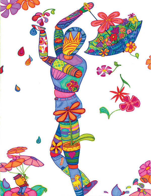 Manikin Poster featuring the drawing April Showers Bring May Flowers by Amy Harrod