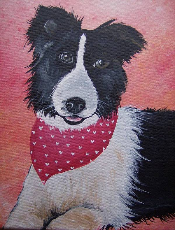Border Collie Poster featuring the painting Border Collie by Leslie Manley