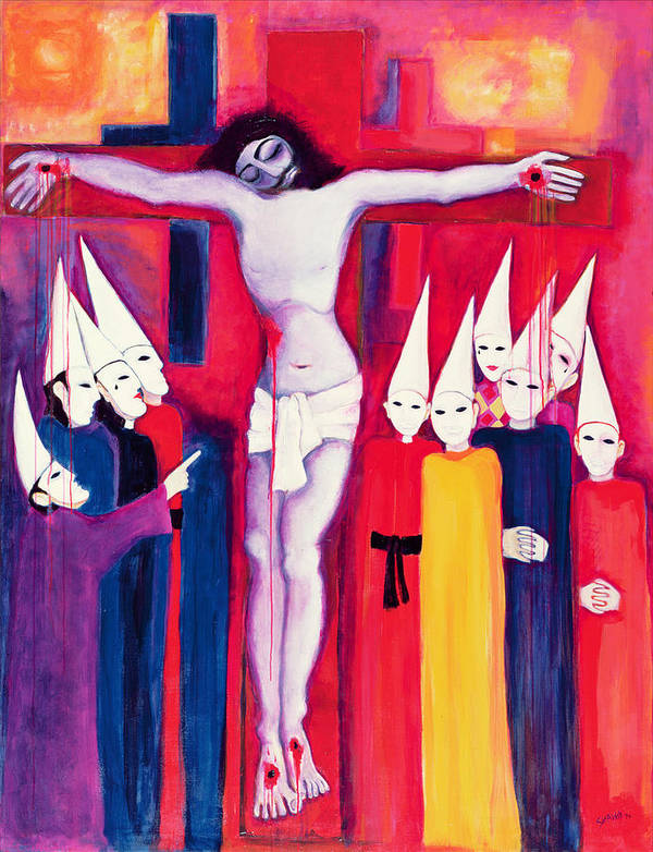 Cross Poster featuring the painting Christ And The Politicians by Laila Shawa