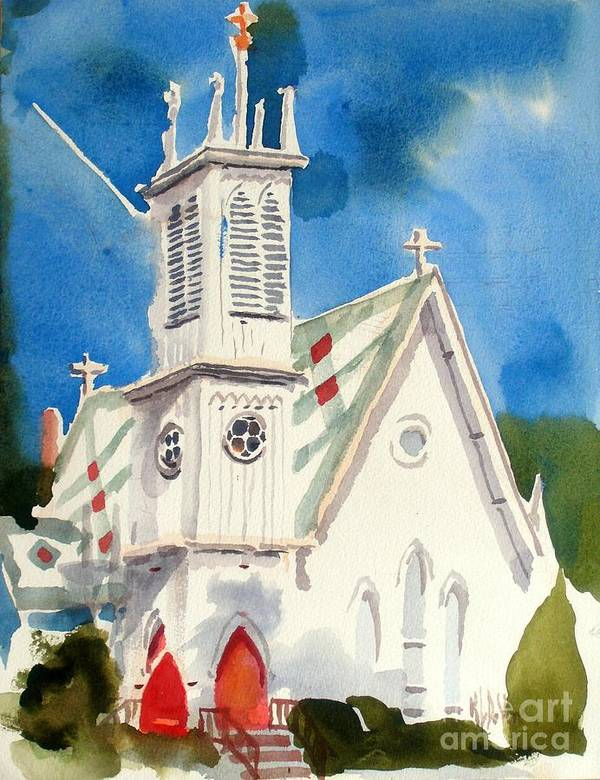 Church Poster featuring the painting Church With Jet Contrail by Kip DeVore