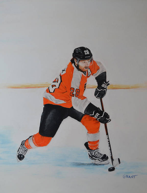 Art Poster featuring the painting Claude Giroux Philadelphia Flyer by Joanne Grant