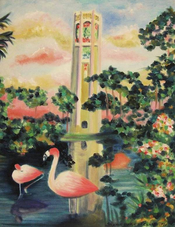 Florida Poster featuring the painting Florida Flamingo's by Suzanne Marie Leclair