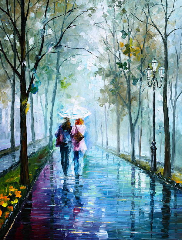 Fog Poster featuring the painting Foggy Day New by Leonid Afremov