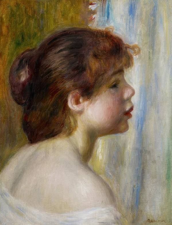 Renoir Poster featuring the painting Head Of A Young Woman by Pierre Auguste Renoir