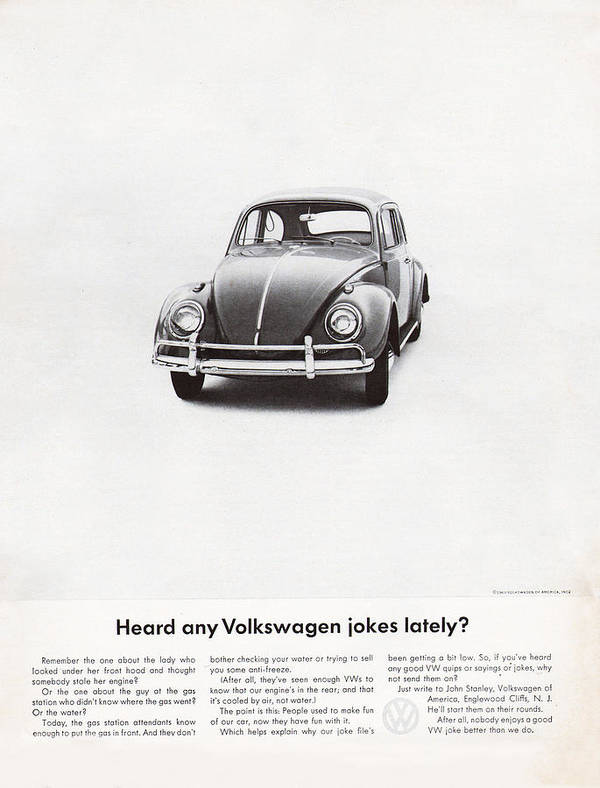 Vw Beetle Poster featuring the digital art Heard Any Good Volkswagen Jokes Lately by Georgia Fowler
