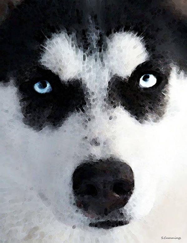 Husky Poster featuring the painting Husky Dog Art - Bat Man by Sharon Cummings