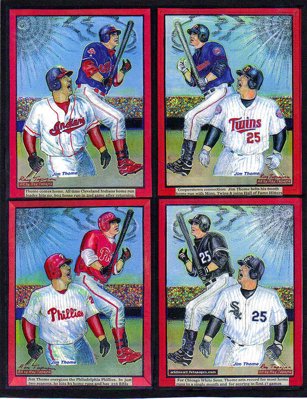 Jim Thome Poster featuring the mixed media Jim Thome Hits 600th Home Run by Ray Tapajna