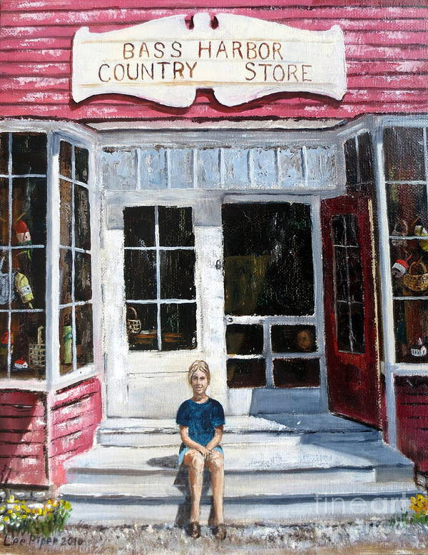 Bass Harbor Store Poster featuring the painting Katie At Bass Harbor Maine by Lee Piper