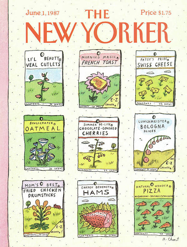 Dining Poster featuring the painting New Yorker June 1st, 1987 by Roz Chast