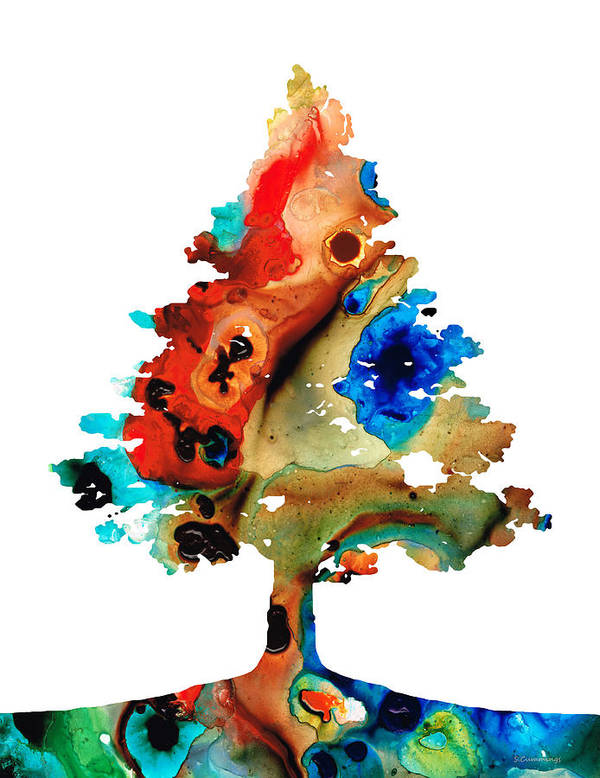 Tree Poster featuring the painting Rainbow Tree 2 - Colorful Abstract Tree Landscape Art by Sharon Cummings