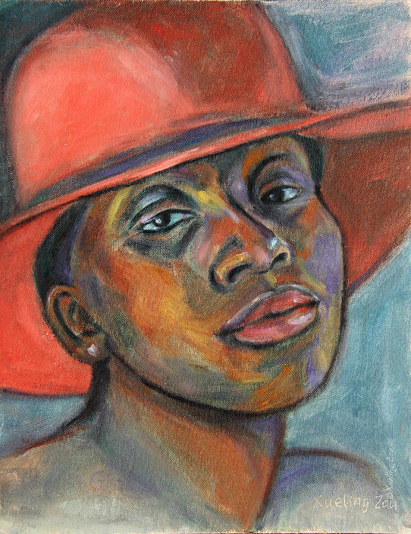 African American Poster featuring the painting Red Hat Lady by Xueling Zou