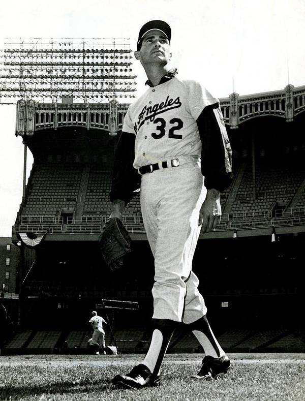 Sandy Poster featuring the photograph Sandy Koufax Vintage Baseball Poster by Gianfranco Weiss