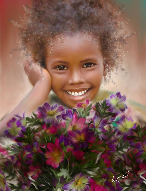 African Poster featuring the painting Smile 2 by Kume Bryant