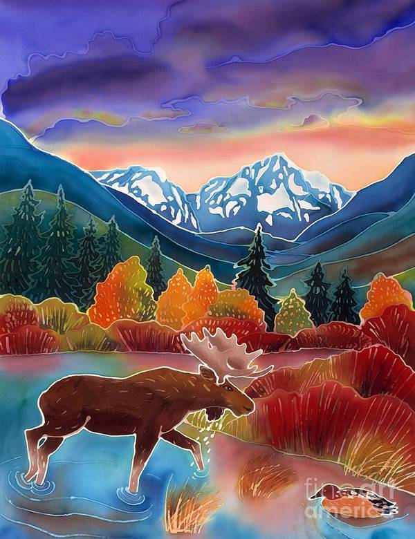 Wildlife Poster featuring the painting Sunrise At Two Medicine Lake by Harriet Peck Taylor