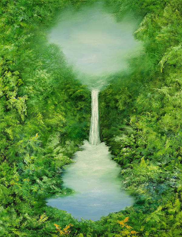 Mystical; Stream; Waterfall; Landscape; Tropical; Pool; Nature Poster featuring the painting The Everlasting Rain Forest by Hannibal Mane