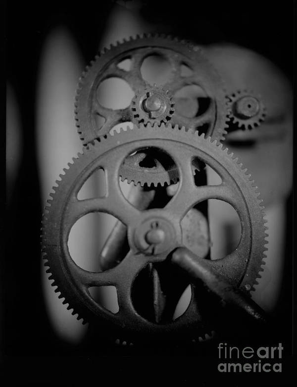 Gear Cog Sharpen Wheel Metal Industrial Metal Machine  Poster featuring the photograph The Sharpening Wheel by C E Dyer