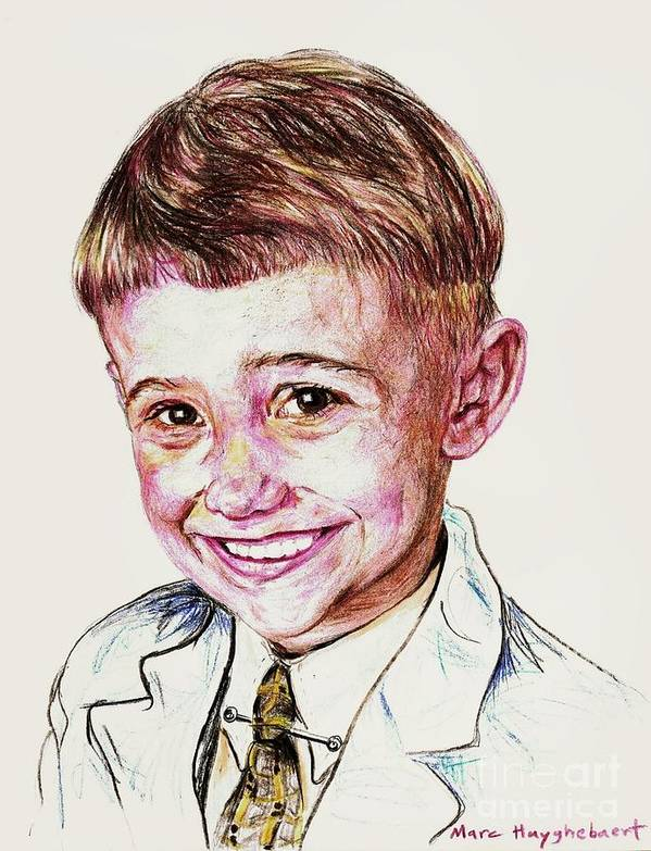 Send A High Resolution Picture Of Your Loved One To Email: Eendina@excite.com . Indicate In Your Email Poster featuring the drawing Young Boy by PainterArtistFINs Husband MAESTRO
