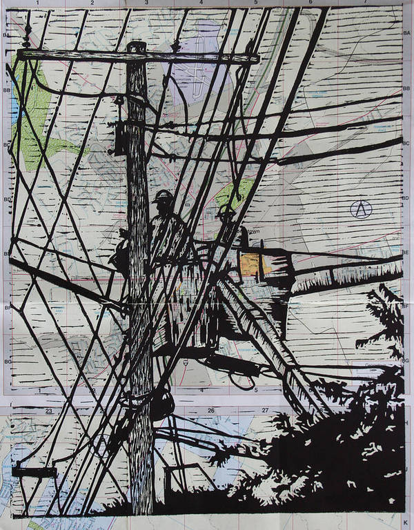 Powerlines Poster featuring the drawing Working On Lines by William Cauthern