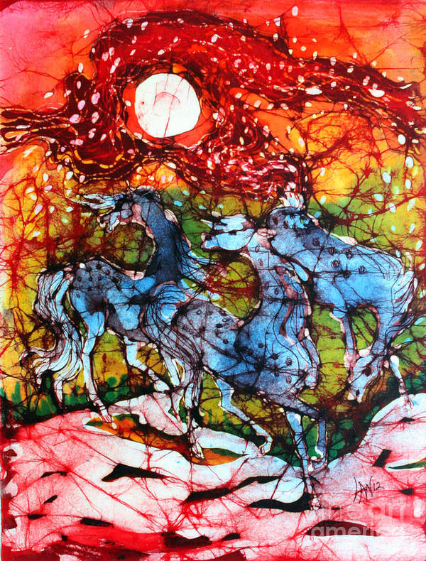 Horse Poster featuring the tapestry - textile Appaloosas On A Fiery Night by Carol Law Conklin