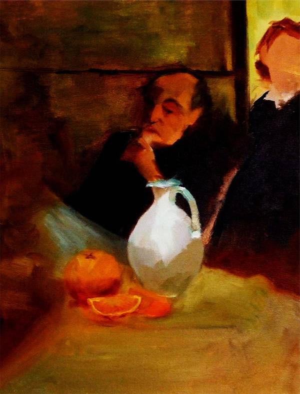 Break Poster featuring the painting Breaktime With Oranges And Milk Jug Man Deep In Philosophical Thought With Mysterious Boy Servant by M Zimmerman MendyZ