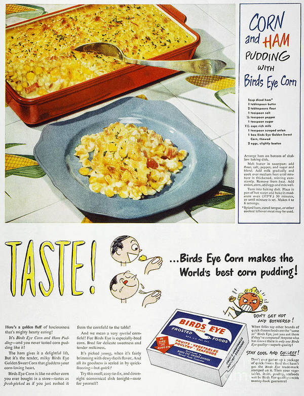 -domestic- Poster featuring the photograph Frozen Food Ad, 1947 by Granger