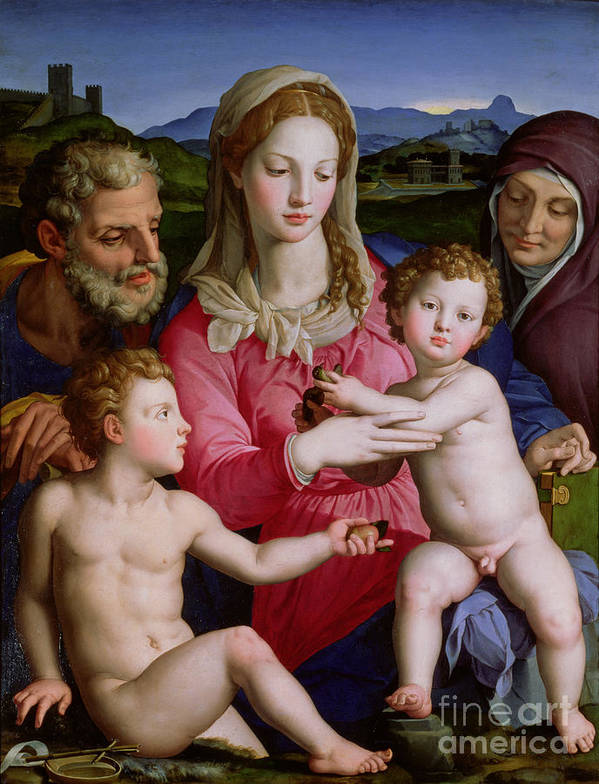 Mannerist; Bird; Baby Jesus; Virgin Mary; Mother; Saint; Child; Christ Poster featuring the painting Holy Family With St Anne And The Infant St John The Baptist by Agnolo Bronzino