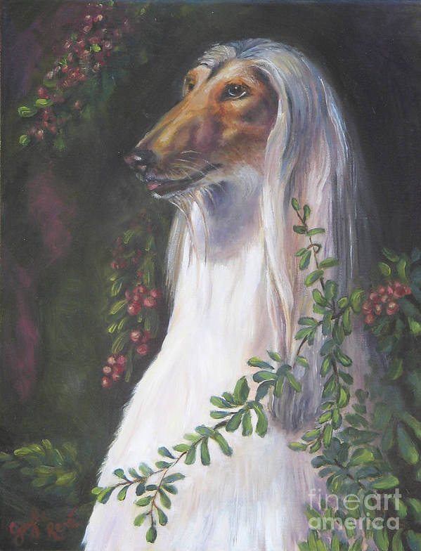 Afghan Poster featuring the painting Portrait Of A Domino Afghan Hound by Gayle Rene