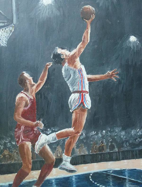 Hawks Poster featuring the painting St. Louis Hawks 1958 by John Terry