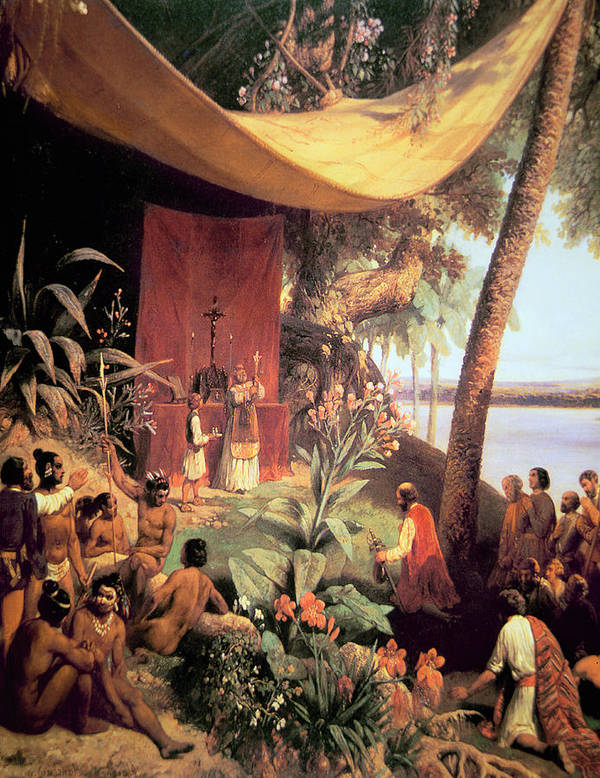 New World; America; Christianity; Colonisation; Colonists; Missionaries; Altar; Cross; Priest; Coastal; Native American Indians; Congregation; North American Indians Poster featuring the painting The First Mass Held In The Americas by Pharamond Blanchard