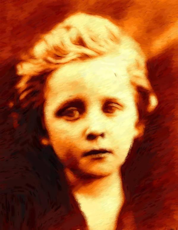 Boy Sad 1860 19 Century Blond Eyes Expressionism Impressionism Portrait Oil Poster featuring the pastel The Sad Boy by Steve K