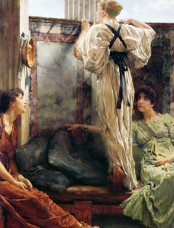Who Is It? Poster featuring the painting Who Is It by Sir Lawrence Alma-Tadema