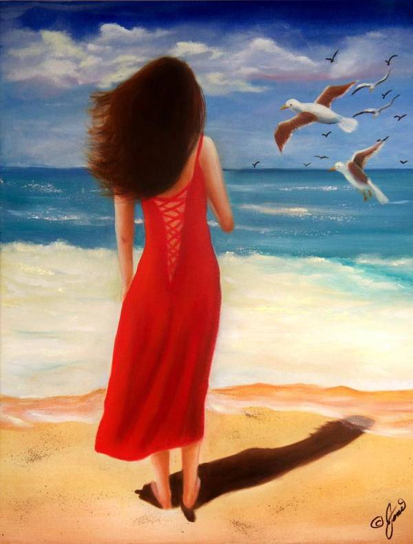 Beach Poster featuring the painting Wind Blown Beach by Joni McPherson