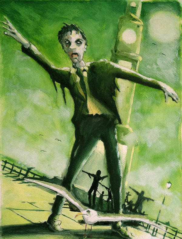 Horror Poster featuring the painting A Zombie In Herne Bay by Paul Mitchell