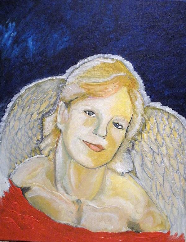 Angel Poster featuring the painting Christmas Angel  Finished by J Bauer