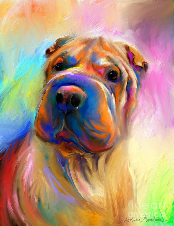 Chinese Shar Pei Dog Poster featuring the painting Colorful Shar Pei Dog Portrait Painting by Svetlana Novikova