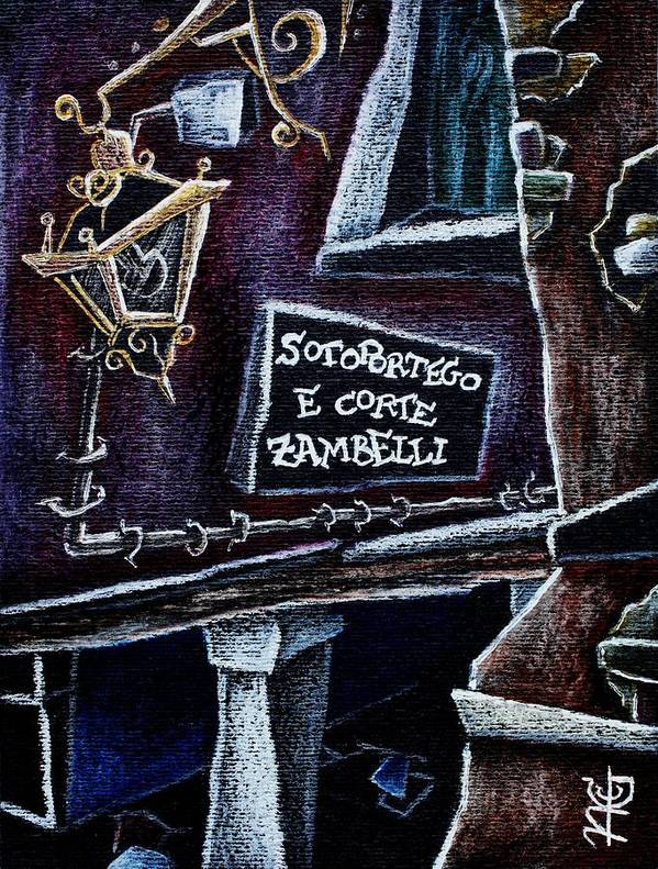Venice Poster featuring the drawing Corte Zambelli - Contemporary Venetian Artist by Arte Venezia