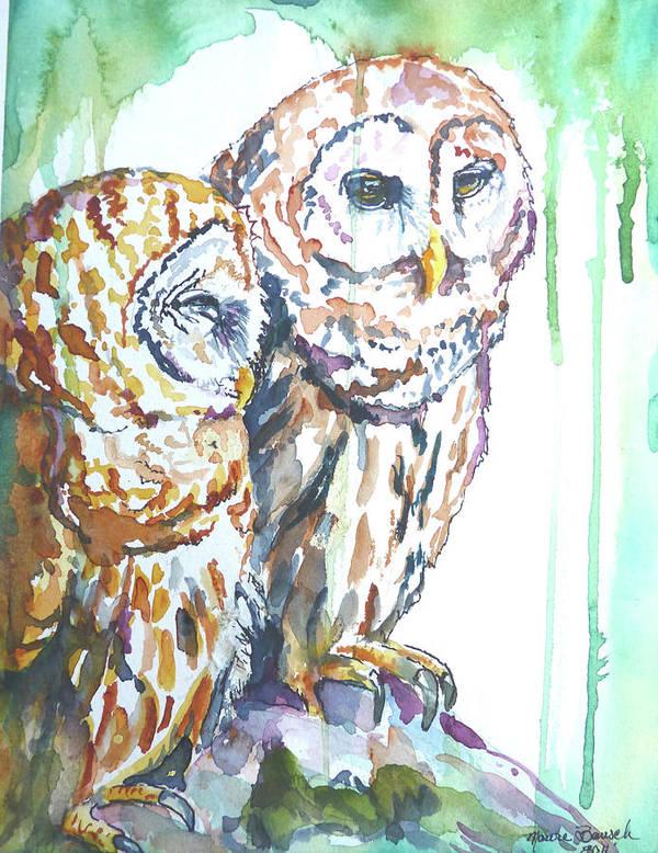 Owls Poster featuring the sculpture Friends by P Maure Bausch