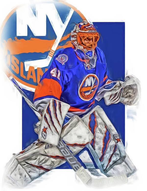 new product 732f9 d37fb Jaroslav Halak New York Islanders Oil Art Poster
