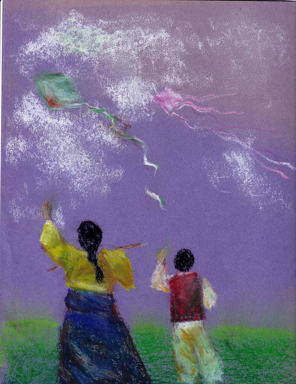 Flying Kite In A Sunny Day-oil Pastel Poster featuring the drawing Kite Flying by Mui-Joo Wee