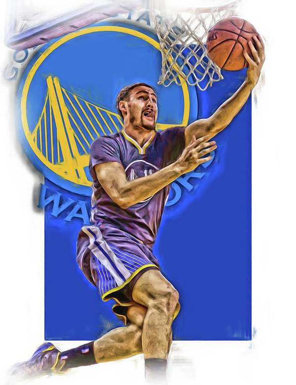 2cc2ede4c Klay Thompson Poster featuring the mixed media Klay Thompson Golden State  Warriors Oil Art by Joe